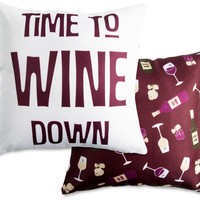 Time to wine down Throw Pillow