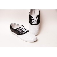 Black Over White Starlight Sequin Saddle Shoes