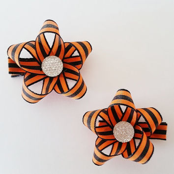 Halloween Hair Clips, Pigtail Bows, Fall Hair Accessories, Orange and Black Hair bows, Fall Hairbow, Autumn Hair Bow, Baby's first Halloween