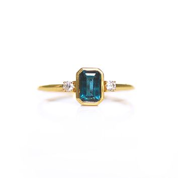 14kt Gold London Blue Topaz & Diamond Love Spell Ring