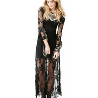 Black Long Sleeve Lace Embroidered Maxi Dress