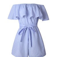 Casual Off Shoulder Bowknot Flounce Pinstripe Romper