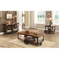 G701128 - Roy Occasional Tables With Casters - Rustic Brown
