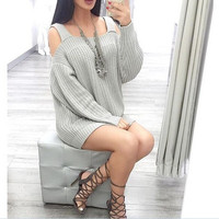 Fashion solid color strapless knit dress