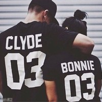 """Bonnie"" & ""Clyde"" Matching Couples Casual T-Shirts"