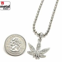 """Jewelry Kay style Men's Fashion Iced Out Weed Marijuana Pendant 20"""" Ball Chain Necklace MMP 824 S"""