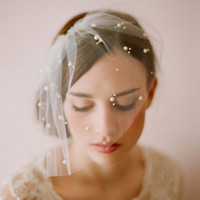 2015 Hot sale 1 LAYER Ivory Blusher Birdcage Wedding Veils Short Bridal Wedding Accessories Veil bridal wedding veil With Tulle Beads CPA114 = 1933007556