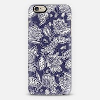 Decorative Floral Pattern in Navy and Cream iPhone 6 case by Micklyn Le Feuvre | Casetify