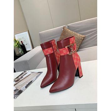 lv louis vuitton trending womens men leather side zip lace up ankle boots shoes high boots 69