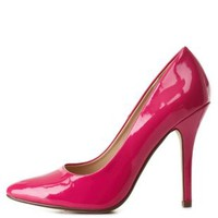 Hot Pink Pointed Toe Stiletto Pumps by Charlotte Russe