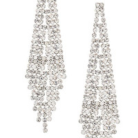 Rhinestone Dangle Earrings- Silver