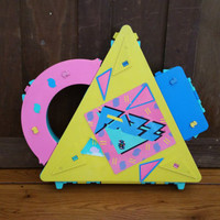 Vintage Plastic Triangle Neon Case Box Storage