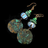 Rustic copper earrings with Verdigris Patina and Blue Green Lampwork beads, Boho earrings with Turquoise, Rustic  Gypsy Bohemian Tribal OOAK