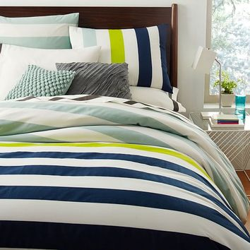 Prep Stripe Duvet Cover + Shams - Ink