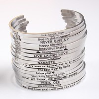 New Stainless Steel Inspirational Mantra Bangle
