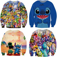 Free shipping Harajuku Tops lilo and stitch Cartoon Crewneck Sweatshirts Women Men Fashion Sweats Jumper Hoodies plus size S-3XL