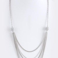 PEARL ENCRUSTED ORB ACCENT TIERED LONG NECKLACE SET