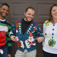 Liquor holder, Ugly Christmas Sweater, Men's XL, Party Sweater, Personalize, Flask holder, alcohol, beer holder