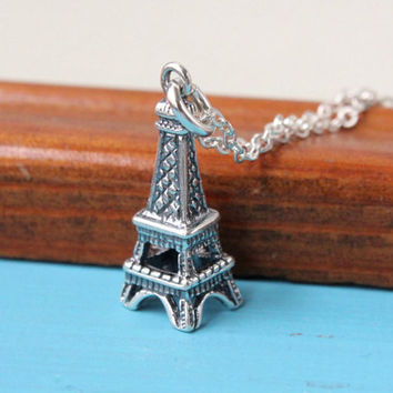 Eiffel tower necklace, 925 Sterling Silver, gift for traveler, Bon Voyage gift, Love Paris, France necklace, travel necklace, handmade