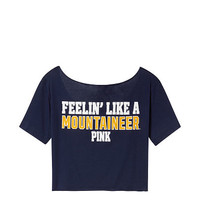West Virginia University Cutoff Raw Edge Neck Tee - PINK - Victoria's Secret
