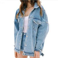 2017 New Autumn & Winter Women Denim Jacket Harajuku Bf Jean Jacket Loose Long Sleeve Female Coats Plus Size Oversized Jacket