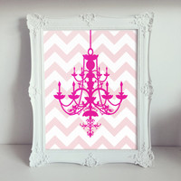 Chandelier Nursery Wall Art Prints / Chevron / Pink / 8x10 inch / Baby Girl / Girl's Room Decor / Kids Art / Dorm Decor