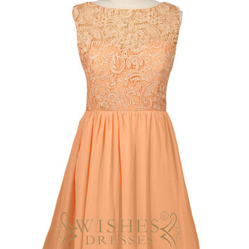 Orange Lace Top Bridesmaid Dress AM517