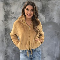 Stay Golden Faux Fur Jacket In Mustard
