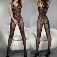 Lady Charming Sexy Open Crotch Stockings Crotchless Fishnet Sheer Body Lingerie wtmp [8805153351]