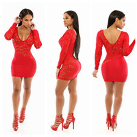 Red Floral Lace V-Neck Long Sleeve Bodycon Mini Dress