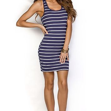 Trista Navy Blue and White Striped Cute Casual Summer Dress