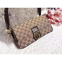GUCCI fashion printed patchwork color shoulder bag hot seller of women's casual shopping bag