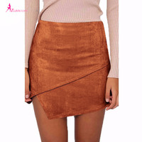 2017 Summer Style Casual Mini Skirt Suede Leather High Waist Sexy Pencil Office Solid Zipper Split Short Bodycon Women Skirts