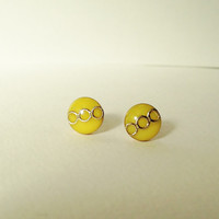 Tiny Yellow Stud Earrings, Small Yellow Resin Earrings, Yellow  and Gold Stud Earrings, Hypoallergenic, Resin Jewelry, For Her