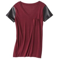 Mossimo® Womens Faux Leather Short Sleeve Tee - Dark Red