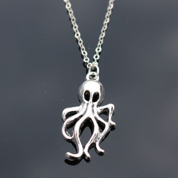 Octopus Necklaces Women Retro Colar Fashion Jewelry  Pendant Necklace Bijoux Tree Leaf Cross Feather Elephant Anchor Simulated Pearls