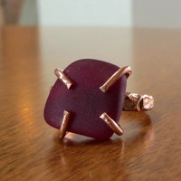 Ruby Red Sea Glass Ring Copper