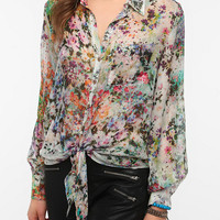 Urban Outfitters - Pins And Needles Silky Tie-Front Blouse