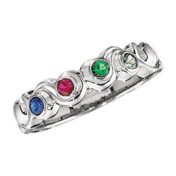 Personalized Carved Swirl Bezel Set Mother's Family Birthstone Ring