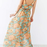 Blue-Yellow Flowers V-neck Open Back Sleeveless Elegant Maxi Dress