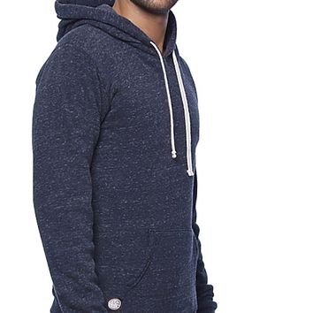 NEW COLOR! Navy Blue Marled Popover Hooded Fleece Sweatshirt - Made in USA