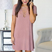 * Cibeles Criss Cross Neckline Dress - Mauve