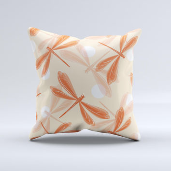 Coral DragonFly  Ink-Fuzed Decorative Throw Pillow