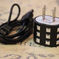 Black Faux Leather Silver Studded Android Samsung Chargers - 2 PC set Includes Wall Charger and Sync Cable