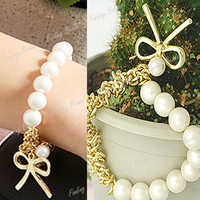 HOT!!! Fahion Pearl Beads Bowknot Alloy Bangle Bracelet Chain Bow Tie Elasticly