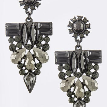 Gunmetal Crystal Drop Earrings