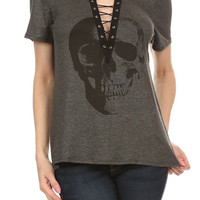 Charcoal & Black Skull Lace Up Plunging V-Neck Top Shirt
