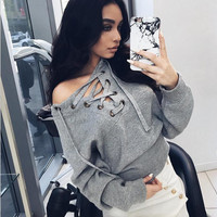 Lace Up Long Sleeve Knitted Sweatshirt
