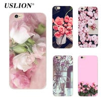 For iPhone 5 5s SE 6 6s 7 7 Plus Phone Case Elegant Beautiful Flowers Painting Soft TPU Cases Back Cover Coque For iPhone 7Plus
