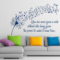 Wall Vinyl Decal Sticker Dandelion Music Quote Musical Notes Art Home Decor m414